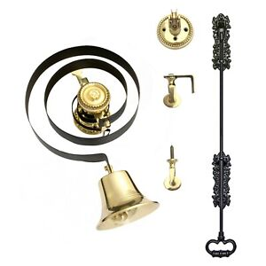 Victorian Butlers Bell Kit c/w Black Cast Iron Pull, Rope, Brass Bell & Pulleys