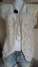 "Hippy Boho 90s Vintage Chunky Knit Crochet Crop TOP Shrug Cardigan Waistcoat 38"""