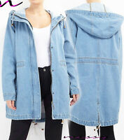 NEW Womens Denim PARKER Coat Jacket Ladies Jean Parka Blue Size 8-24 PLUS SIZE A