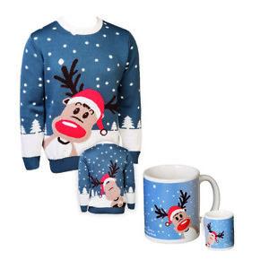 Set: Weihnachtspullover DEER TOM© Rentierpulli Weihnachten Herrenpulli + Tasse