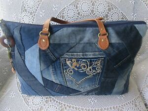 Women's Ladies Overnight Bag Weekender Carry on - Recycled Denim
