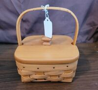 Longaberger 2002 TARRAGON BOOKING BASKET With Plastic Protector & Wood Lid