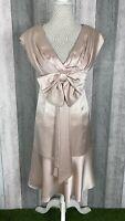 Karen Millen Pink Satin Oversized Bow Floaty V-Neck Occasion Dress Size 10