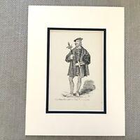 1900 Antico Stampa Moda Costume Conte Di Suffolk Tudor Abito Henry VIII