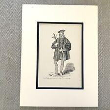 1900 Antique Print Fashion Costume Earl of Suffolk Tudor Dress Henry VIII