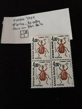 TAXE N°108a - insecte à 4,00F DOUBLE FRAPPE dans un bloc de 4T  côte  31€  N**