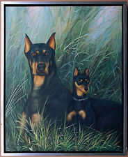 Dobermann und Junghund, Ölmalerei auf Leinwand, 60 x 50 cm, signiert Gordon