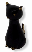 Vintage Black Cat Murano Glass Mid Century Gold Accents 14K Sleek Italian Mod 4""