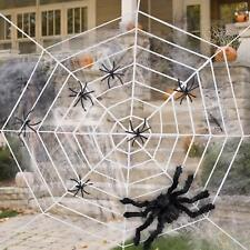 Halloween Decorations, White Giant Spider Web Set with Super Stretch 11FEET