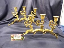 Vintage Brass Christmas Reindeer Three Candle Holder Candle Stick Set of Two