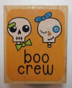 Studio G Boo Crew Skeletons Halloween Themed Wooden Rubber Stamp