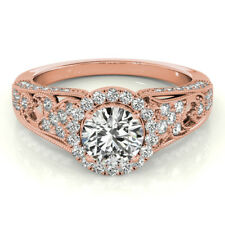 14K Rose Gold Size 6 7 8 Round 1.3 Ct Diamond Engagement Ring Real Solid