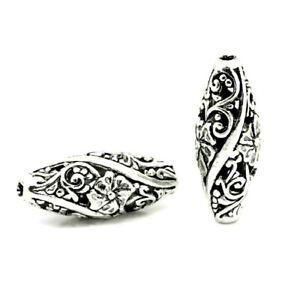 5 Tibetan Silver Hollow Filigree Scroll Cutout Big 26mm Oval Spacer Focal Beads