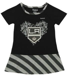 Reebok NHL Little Girls Los Angeles Kings Fancy Dropwaist Dress, Black