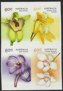 2014 AUSTRALIA  -  SG:4180/11  - ORCHIDS  - UNMOUNTED MINT S/A SET IN BLOCK OF 4