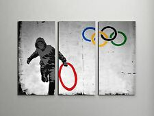 """Banksy Olympic Rings Stretched Canvas Triptych Print 48""""x30"""", BONUS WALL DECAL!"""