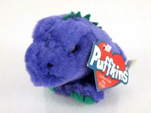 Puffkins Collectible Plush Keychain Key Ring DANNY Purple Dinosaur