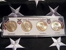 COMPLETE SET OF ALL  FOUR 2007-P PRESIDENTIAL  DOLLARS IN DISPLAY CASE