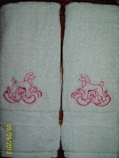 Pink Poodle White Bathroom Hand Towel Set Embroidered Adorable