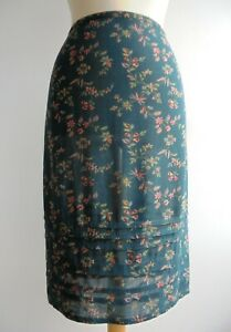 Vintage 90s LAURA ASHLEY Green Floral Skirt Size 16 fits a UK14
