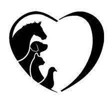 2 x Love Tiere Hund Pferd Katze Gans Herz Aufkleber  Decal Sticker Decals 12 cm