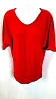 Rue 21 Women's Blouse Top 3/4 Sleeve Red V-Neck Size Large New NWOT