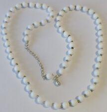 collier bijou rétro perle blanche et petites perles couleur argent  1849