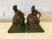 Antique Native American Indian Figural Pair of Painted Metal / Spelter Bookends