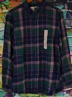 St Johns Bay Mens Long Sleeve Flannel Shirt Navy Pink Plaid Medium Brand New