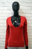Maglione TOMMY HILFIGER Felpa Donna Size S ( M ) Pullover Sweater Cardigan Rossa