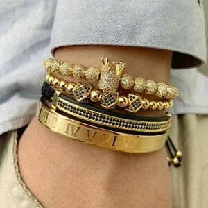 Luxury Mens Charm Handmade Crown Bracelets Stainless Steel Roman Numeral Bangle