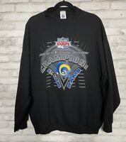 St. Louis Rams Super Bowl XXXIV 2000 Logo 7 Mens Sweatshirt Black Vintage 2XL