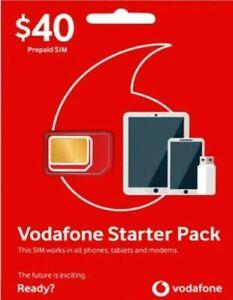 VODAFONE STARTER PACK $40 PREPAID SIM NEW - 45GB AND UP TO $40 BONUS MYCREDIT