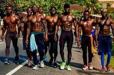 Shirtless Male Muscular Beefcake African Black Hunks Jocks Group PHOTO 4X6 C1695