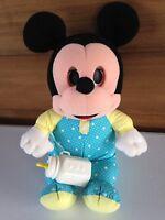Disney Vintage Playskool Sleepy Eyes With Bottle Mickey Mouse Baby Plush Stuffed