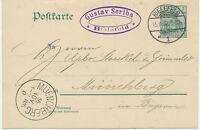 """DT.REICH """"BIELEFELD / 1"""" K2 5 Pf Germania Kab.-GA-Postkarte OHNE WASSERZEICHEN"""