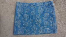 Woman's Juniors Abercrombie and Fitch Denim Floral Shimmery Mini Skirt Size 8