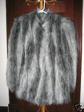 AWESOME black & gray faux fur WOMENS coat BE SEEN :)
