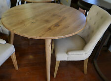 Round Retro Vintage  Art deco Oak Dining Table  Danish style table 120cm