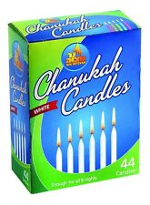 44 WHITE CANDLES - - Chanukah Jewish Judaica Hannukah Menorah Candle Lights Box