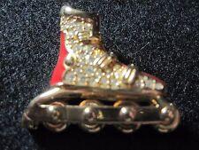Swarovski Swan Red Enamel Gold Tone Rhinestone Crystal Roller Blade Skate Pin
