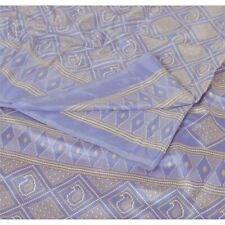Sanskriti Vintage Blue Saree Moss Crepe Printed Sari Soft Decor 5Yd Craft Fabric