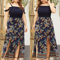 Womens Boho Floral Strappy Long Maxi Ladies Evening Party Beach Dress Plus Size