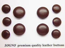 10 MADE IN USA genuine leather covered buttons for jacket, blazers, metal loop