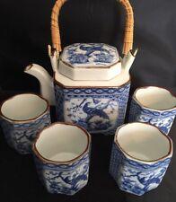 Japanese Square Tea Set Blue White Quail Teapot and 4 Cups Porcelain