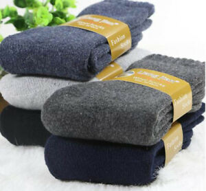 3 Pairs 100% Wool Cashmere Men's Thick Socks Comfortable Super Warm Soft 5-8