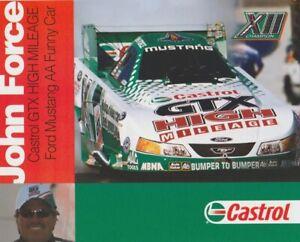 2003 John Force Castrol GTX Ford Mustang Funny Car NHRA Hero Card