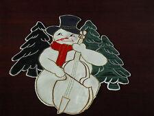 Festerbild, Fensterdeko, Weihnachten Schneemann Stickerei