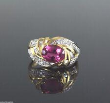 18ct Oro Amarillo Turmalina Rosa Redondo Diamante Baguette Anillo Cinta Talla 8