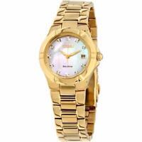 Citizen Eco-Drive Women's Diamond Accents Gold Tone 26mm Watch EW1532-61D